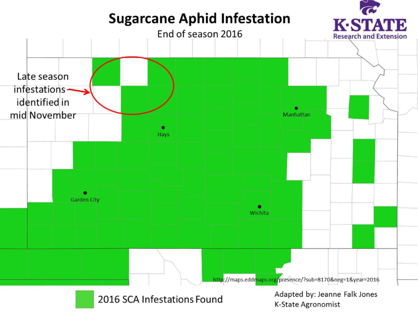 Sugarcane aphid map 2016